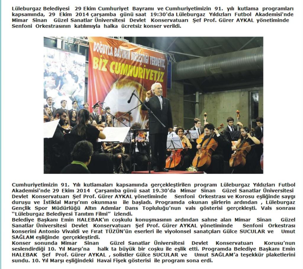 lüleburgaz haber Cumhuriyet Bayram Kutlaması Konseri Yakartepe Müzikleri Tören